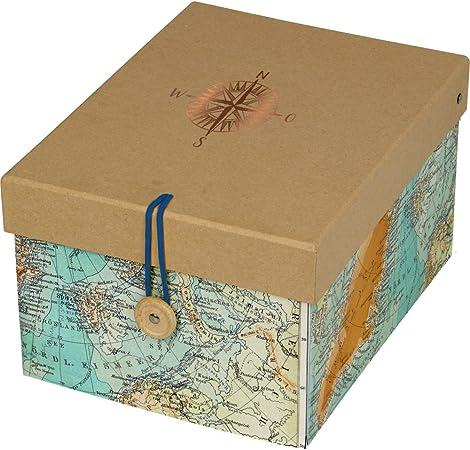 Spiegelburg 14354 Caja de Almacenaje Decorativa Mapa del Mundo Tiempo de Viaje Reisezeit: Amazon.es: Hogar
