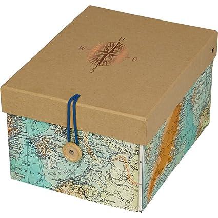 Spiegelburg 14354 Caja de Almacenaje Decorativa Mapa del Mundo Tiempo de Viaje Reisezeit