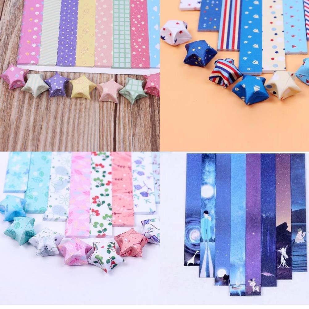 Feuillets de 800 Feuilles Origami Paper Lucky Wish Stars Papier pliant 8 couleurs