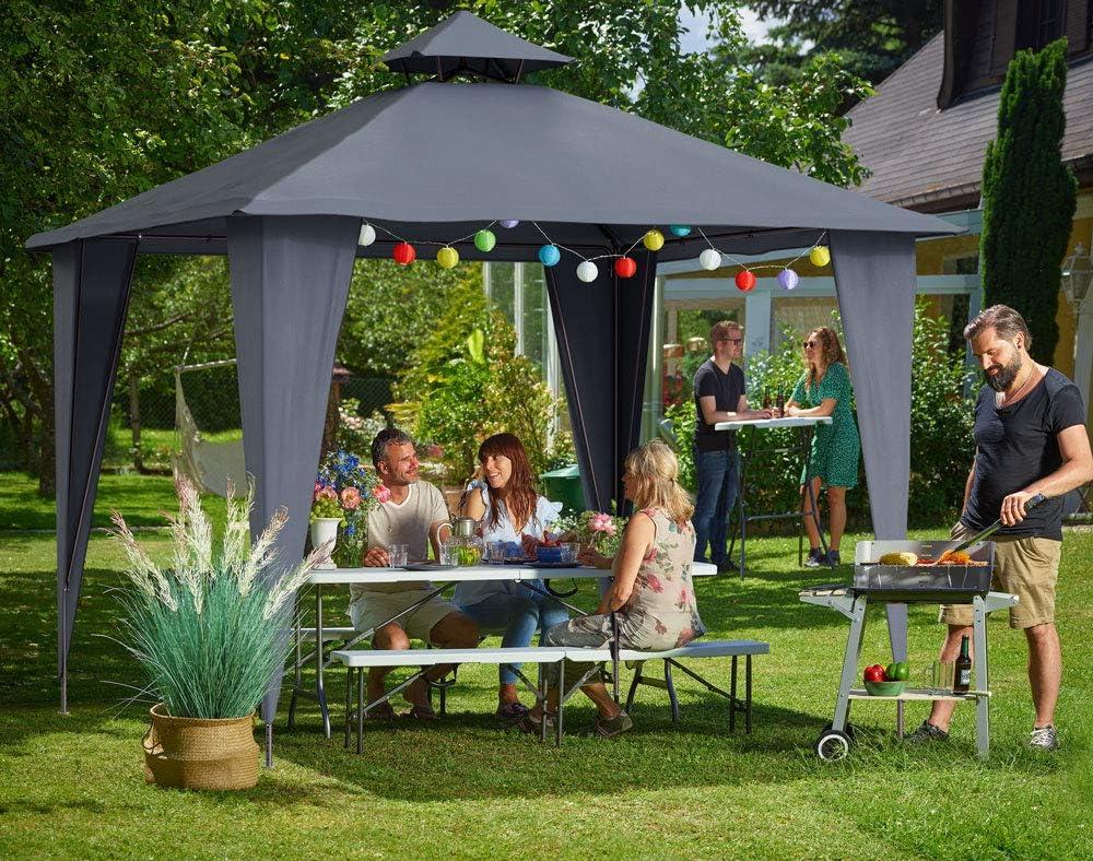 Deuba Pabellón de Jardín cenador Sairee Antracita 3, 5x3, 5m Carpa ...