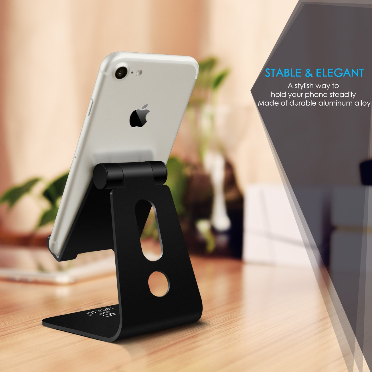 Adjustable Cell Phone Stand, Lamicall Phone Stand : [Update Version] Cradle, Dock, Holder Compatible with Switch, Phone 8 X 7 6 6s Plus 5 5s 5c Charging, Accessories Desk, Android Smartphone - Black by Lamicall (Image #3)