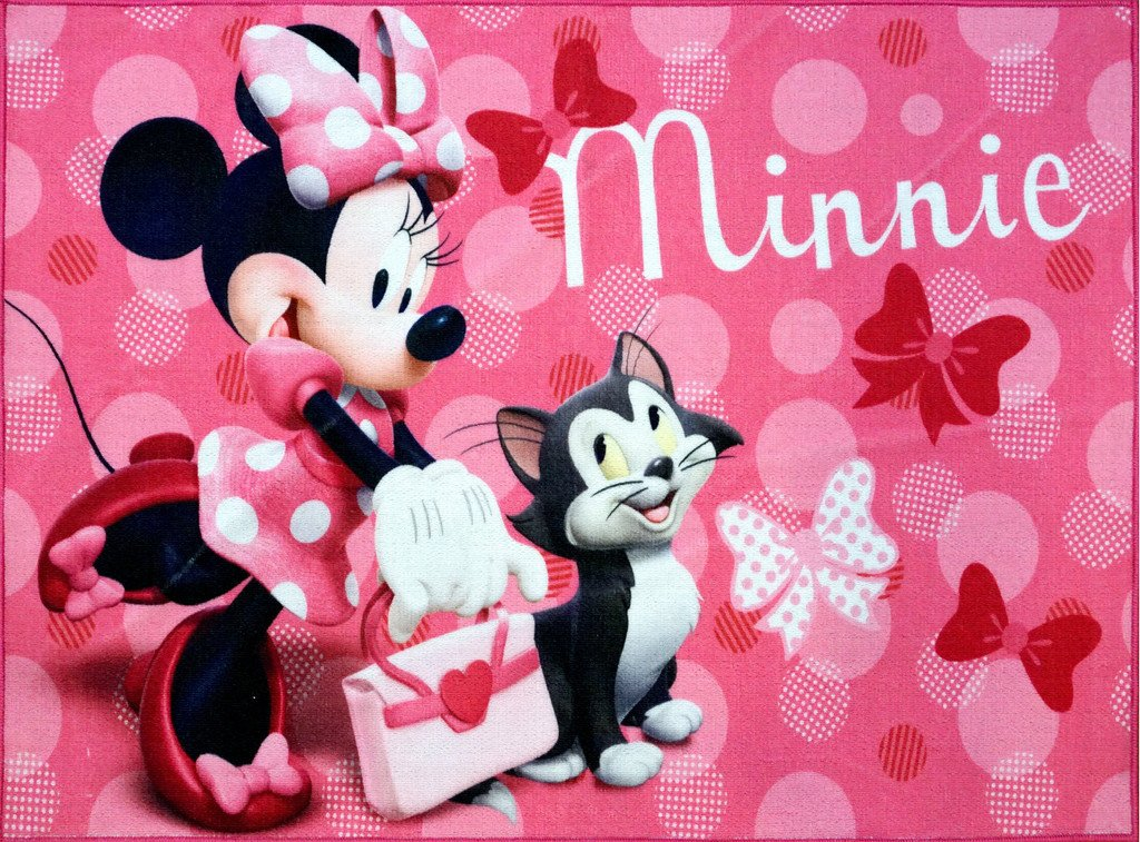 Disney Minnie Mouse Rug w/ Figaro Cat HD Digital Girls Room Decor Bedding Area Rugs 5x7, X Large, Pink