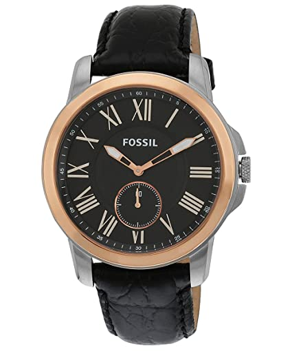Fossil Mens FS4943 Grant Slim Stainless Steel Watch with Black Leather Band