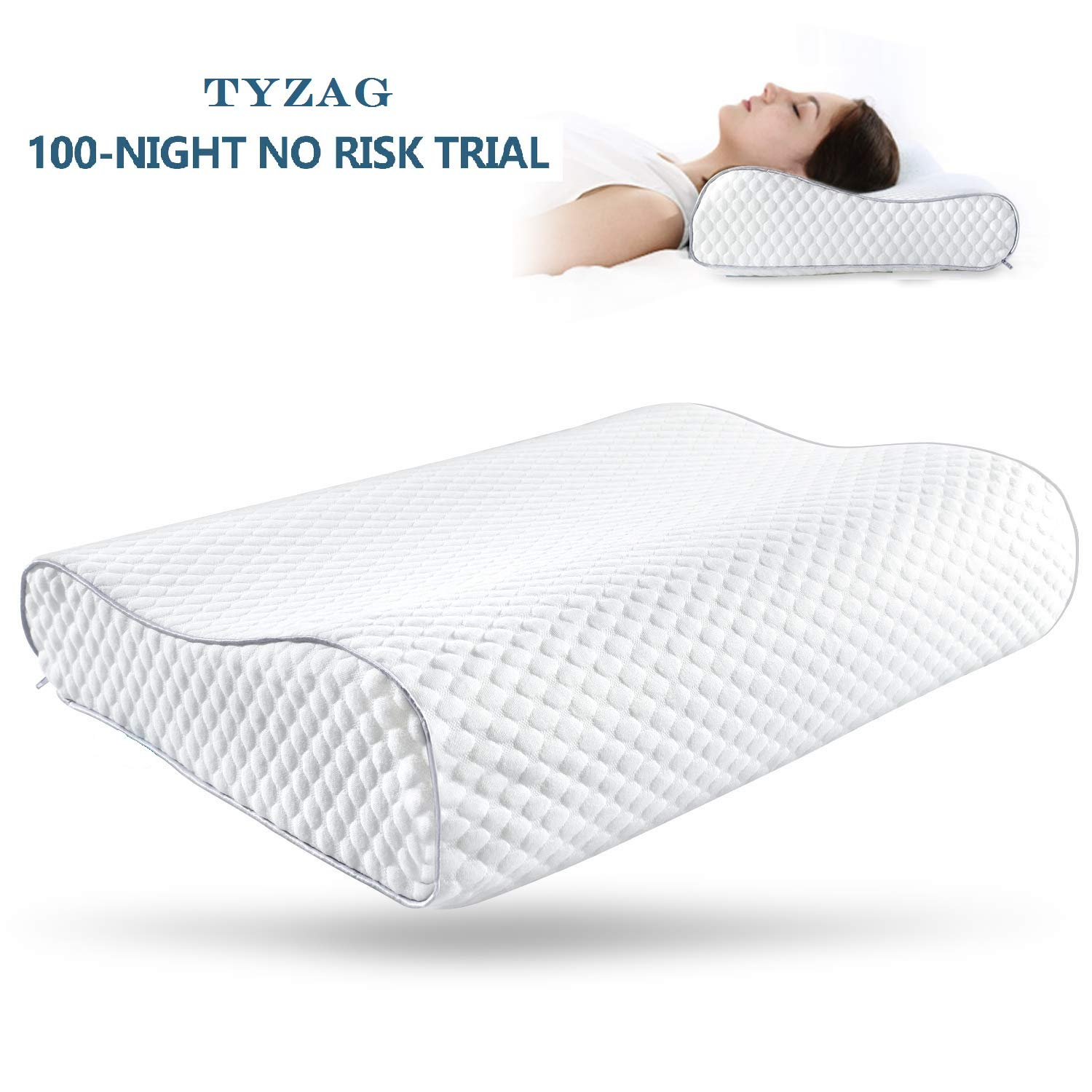 TYZAG Power by Orthopedic Memory Foam Pillow, Memory Pillow, Memory Foam Pillow for Sleeping, Memory Pillow for Neck Pain, Memory Pillow for Sleeping, Pillows (White) product image