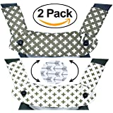 Premium 2 Packs Drool and Teething Reversible Cotton Pad | Fits Ergobaby Four Position 360 and Most Baby Carrier | White Cross Gray Design | Hypoallergenic | Great Baby Shower Gift by Mila Millie