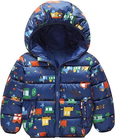 Toddler Baby Coat Boys Girls Winter Cartoon Windproof Hooded Outwear Jacket