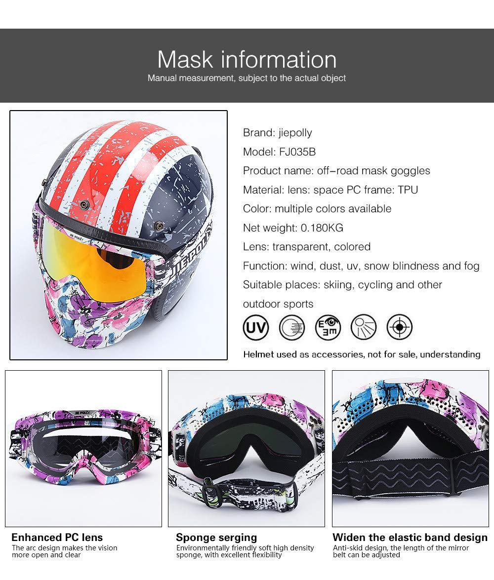 SMBYQ Motorradbrille Maske Wintersport Taktische Brille mit Abnehmbarer Maske für Airsoft/CS/Desert Offroad Reiten/Skifahren/Motorschlitten/Radfahren/Halloween/Kostümball,Schwarz Skifahren