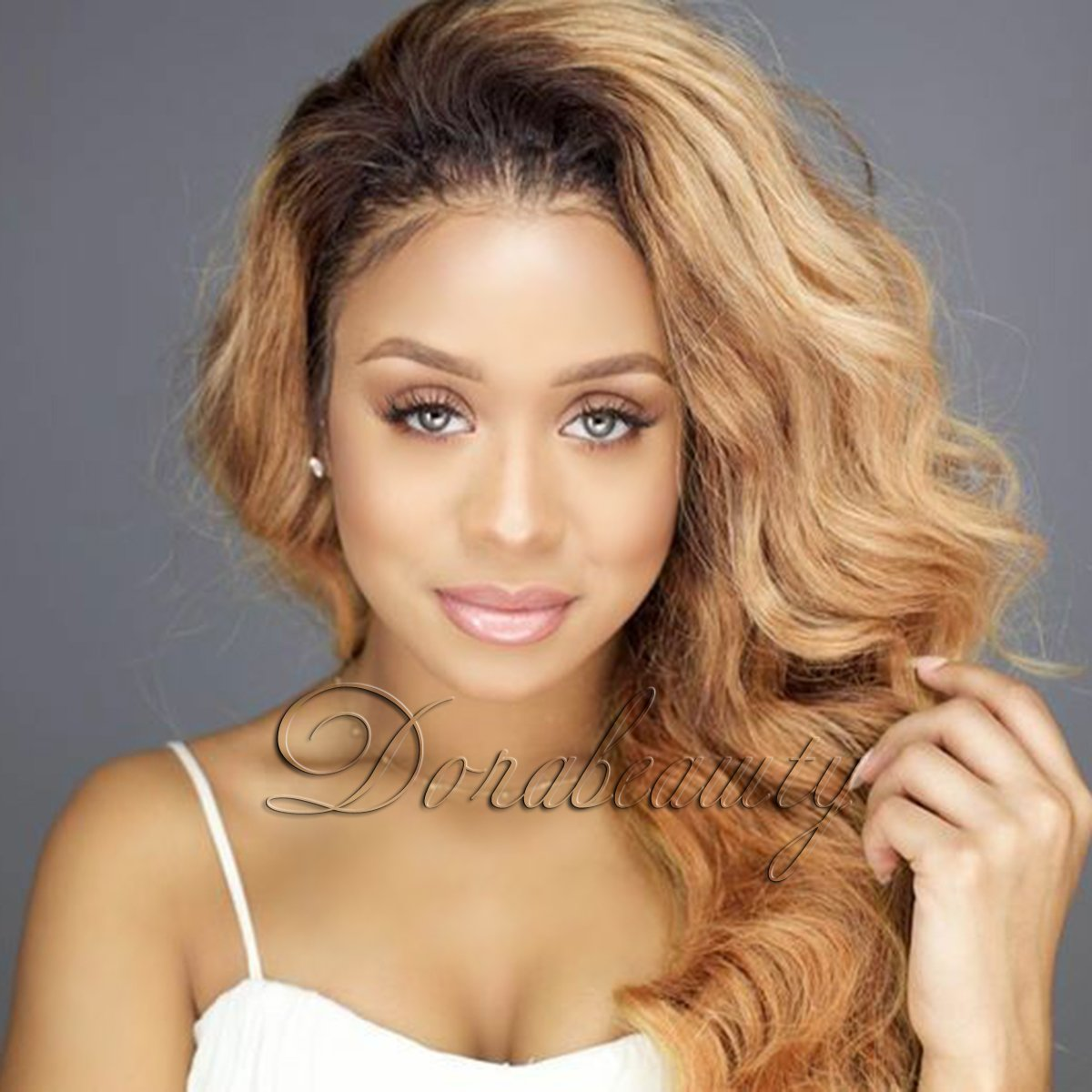 Dorabeauty Dark Roots Honey Blonde Virgin Human Hair Wig For Black Woman Glueless Lace Front Wig Ombre 1b 27 Body Wave 150 Density 10 Inches