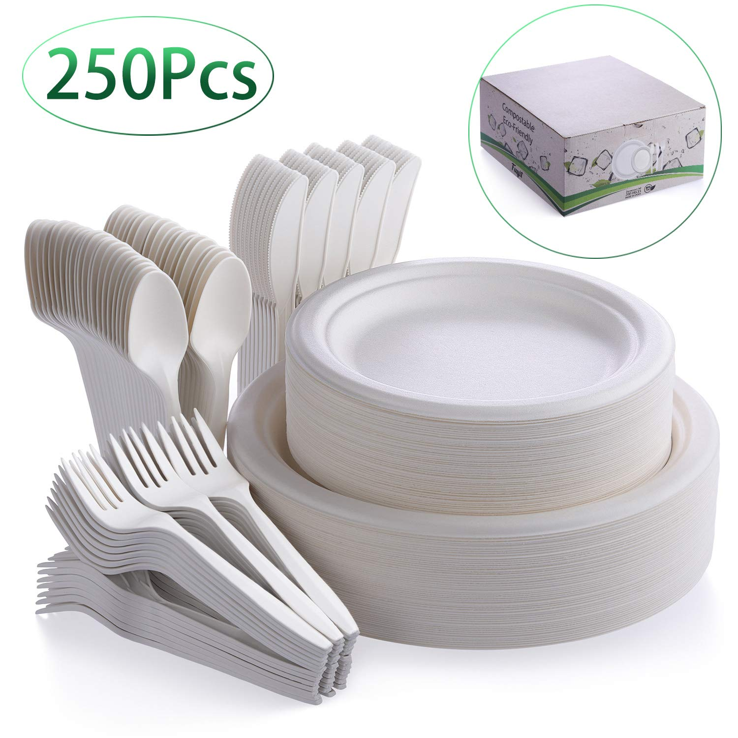 Fuyit 250Pcs Disposable Dinnerware Set, Compostable Sugarcane Cutlery Eco-Friendly Tableware Includes Biodegradable Paper Plates, Forks, Knives and Spoons Combo for Party, Camping, Picnic (White)