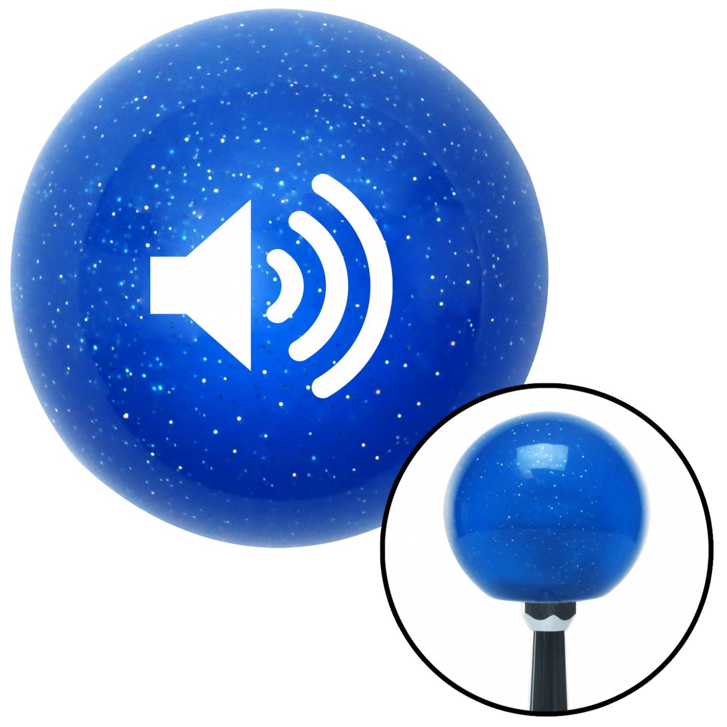 White Speaker On American Shifter 24697 Blue Metal Flake Shift Knob
