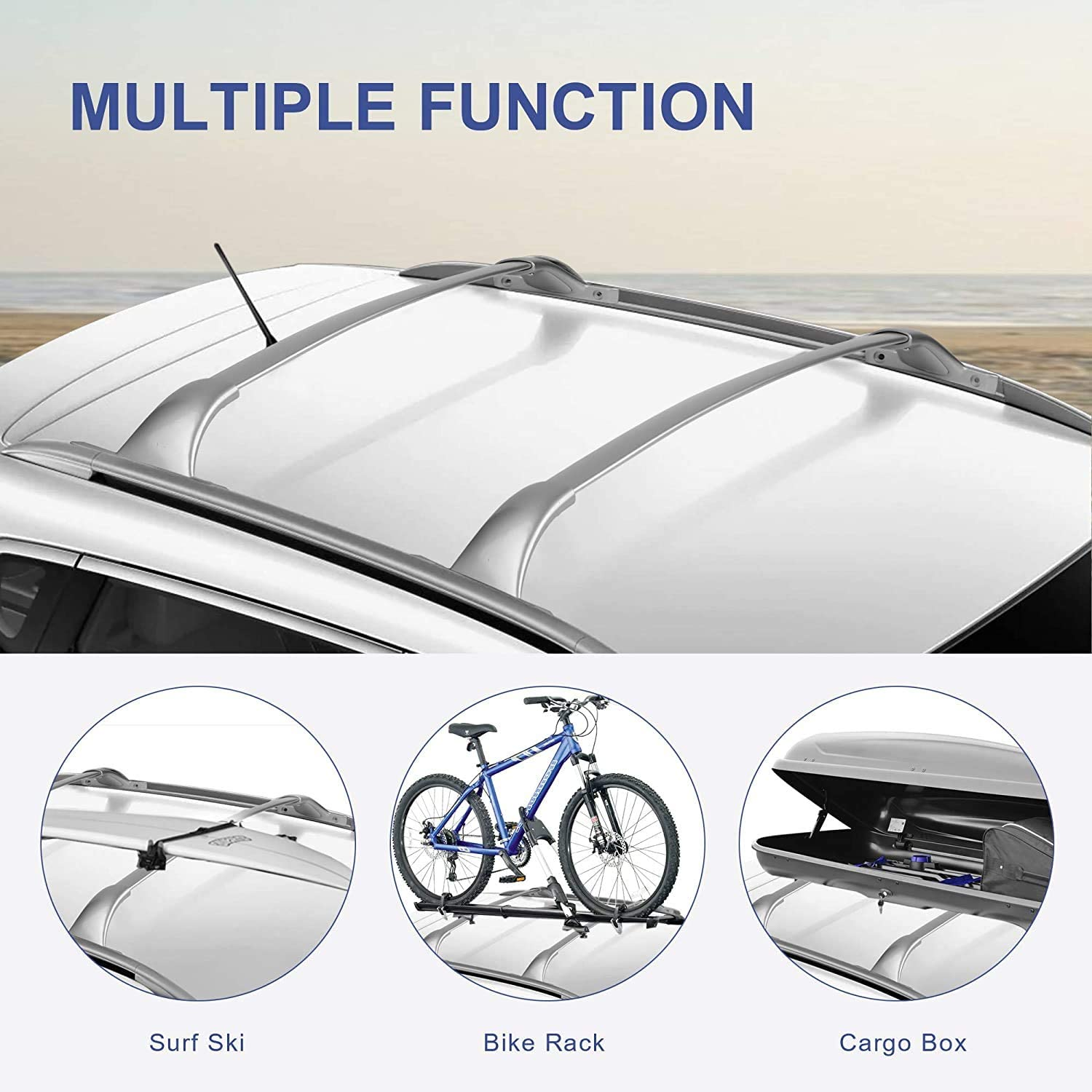 Mosatp Roof Rack Fit for Compatible with NIS san Rogue 2014-2019 Cargo Carrier Lightweight Aluminum Cross Bars Rooftop Bag Luggage Crossbars Max Load 150lb Carry Canoe Kayak Bike Skiboard Surfboard
