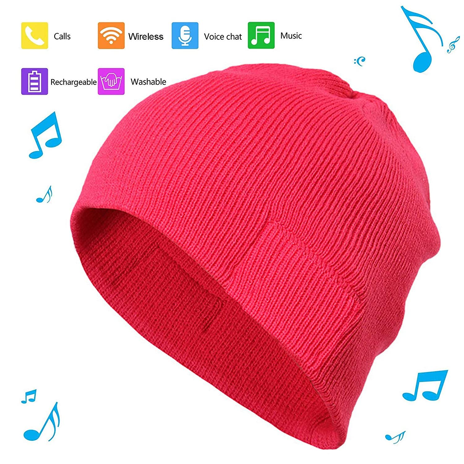 BGJOY Music Hat Wireless Beanie Smart Hat Headphone Headset Earphone Winter Warm Knit Hats Cap with Mic and HD Speakers Gifts for Outdoors Family Thanksgiving Christmas Unisex (Red)