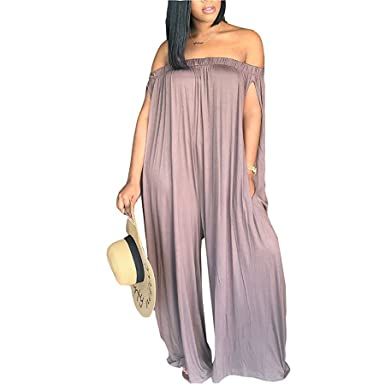 661809b9ffd Amazon.com  Ru Sweet Women Off Shoulder Solid Loose Wide Leg Pants  Jumpsuits Pocket  Clothing