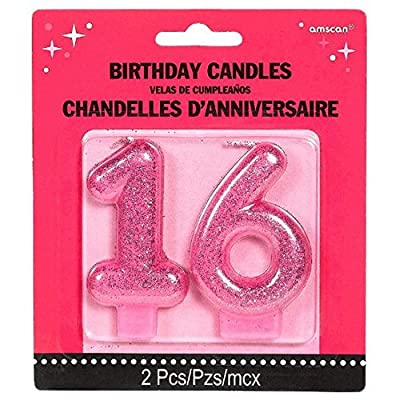 Amscan No. 16 Glitter Candle | Sweet Sixteen Collection | Birthday: Kitchen & Dining