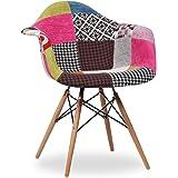 Chaise WOODEN ARMS tapissée de toile PATCHWORK 2-bois hêtre-Unique