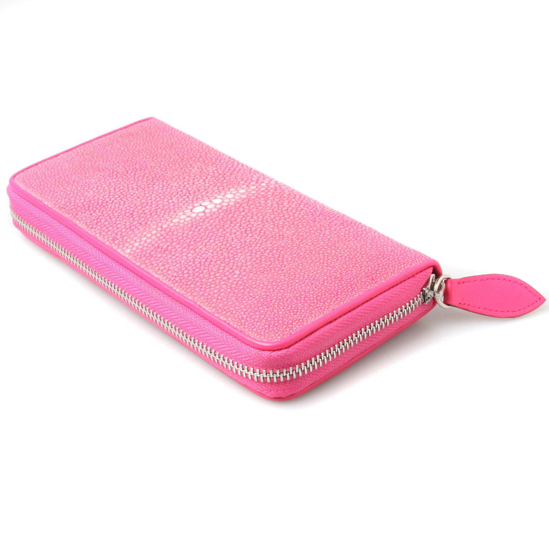 Genuine Polished Stingray Leather Pink Clutch Women Zip Around Coin Wallet Purse