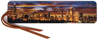 product image for Chicago Sunset Skyline, Wooden Bookmark with Suede Tassel