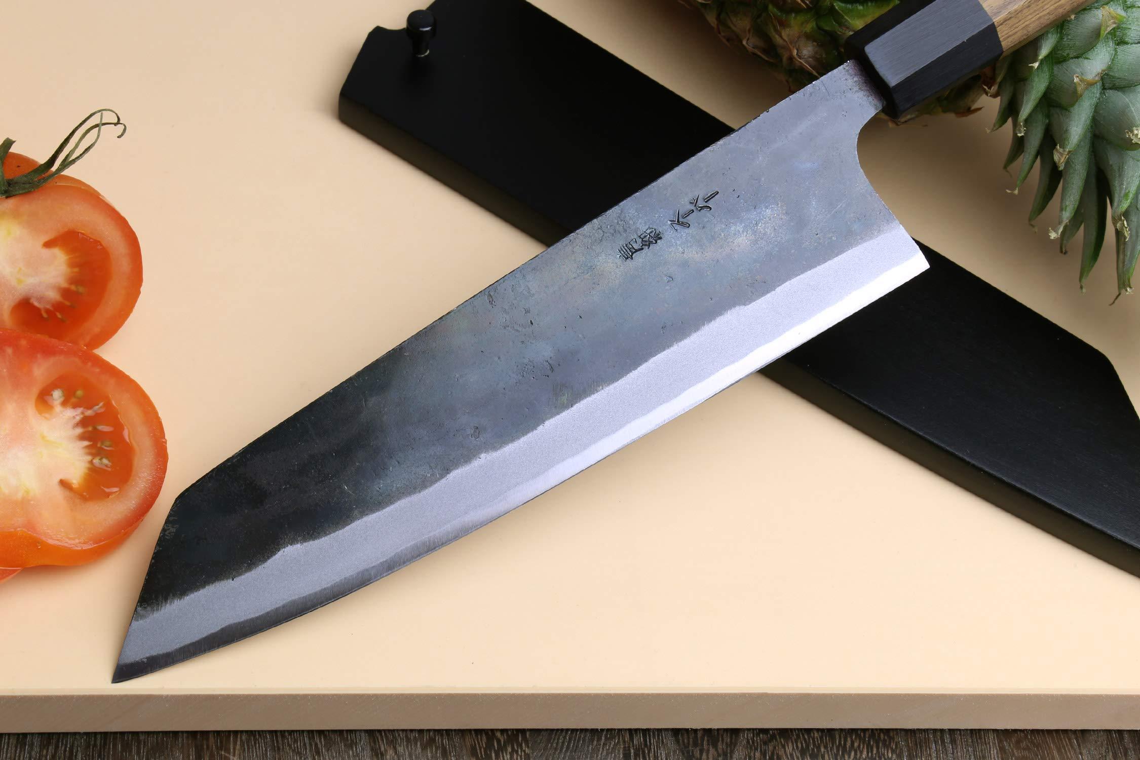 Yoshihiro Mizu Yaki Blue High Carbon Steel Super Kurouchi Kiritsuke Multipurpose Chef Knife (8.25 In) with Nuri Saya Cover by Yoshihiro (Image #3)
