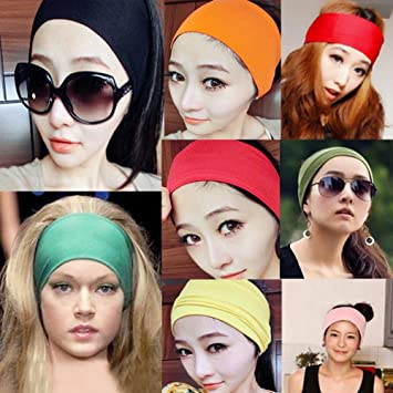 Amazon.com   New women Colored wide yoga headband stretch hairband Elastic hair  bands Turban-Black   Sports Headbands   Beauty 36d164f008e