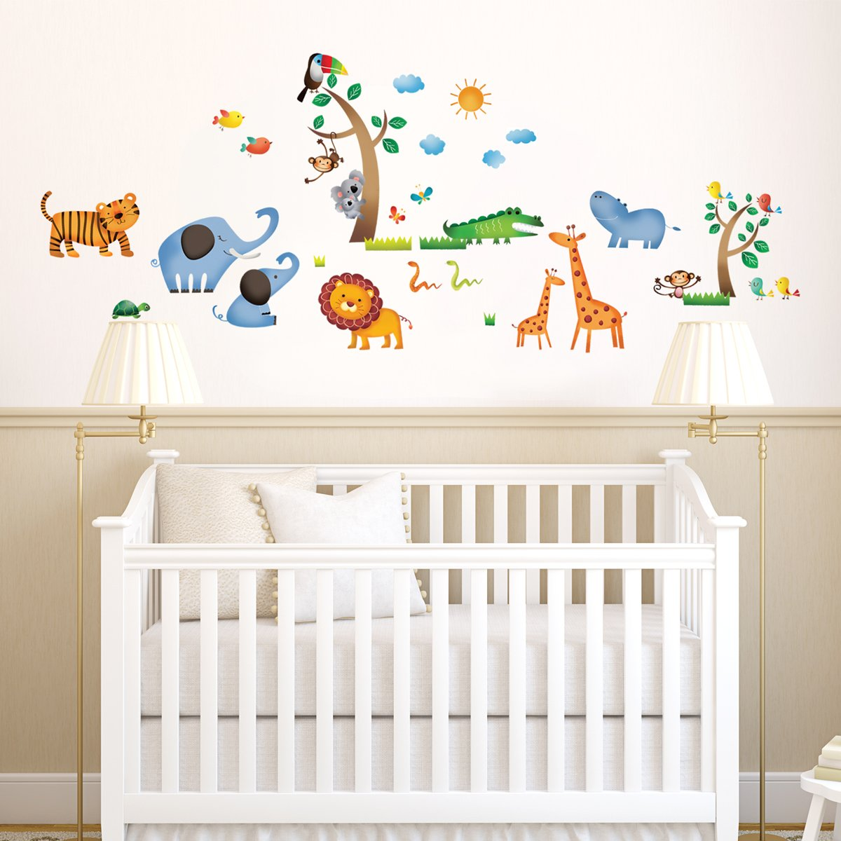 decowall dw 1206 wild jungle animals kids wall stickers wall wild jungle animals kids wall stickers wall decals peel and stick removable wall stickers for kids nursery bedroom living room amazon co uk baby