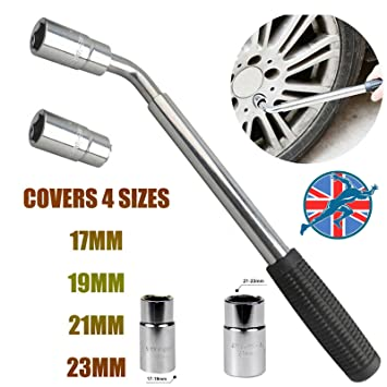 Extensible Rueda Brace Llave de 380 mm para poste de 500 mm telescópica coche Van Socket Tuerca de rueda 17 19 21 23 mm: Amazon.es: Coche y moto