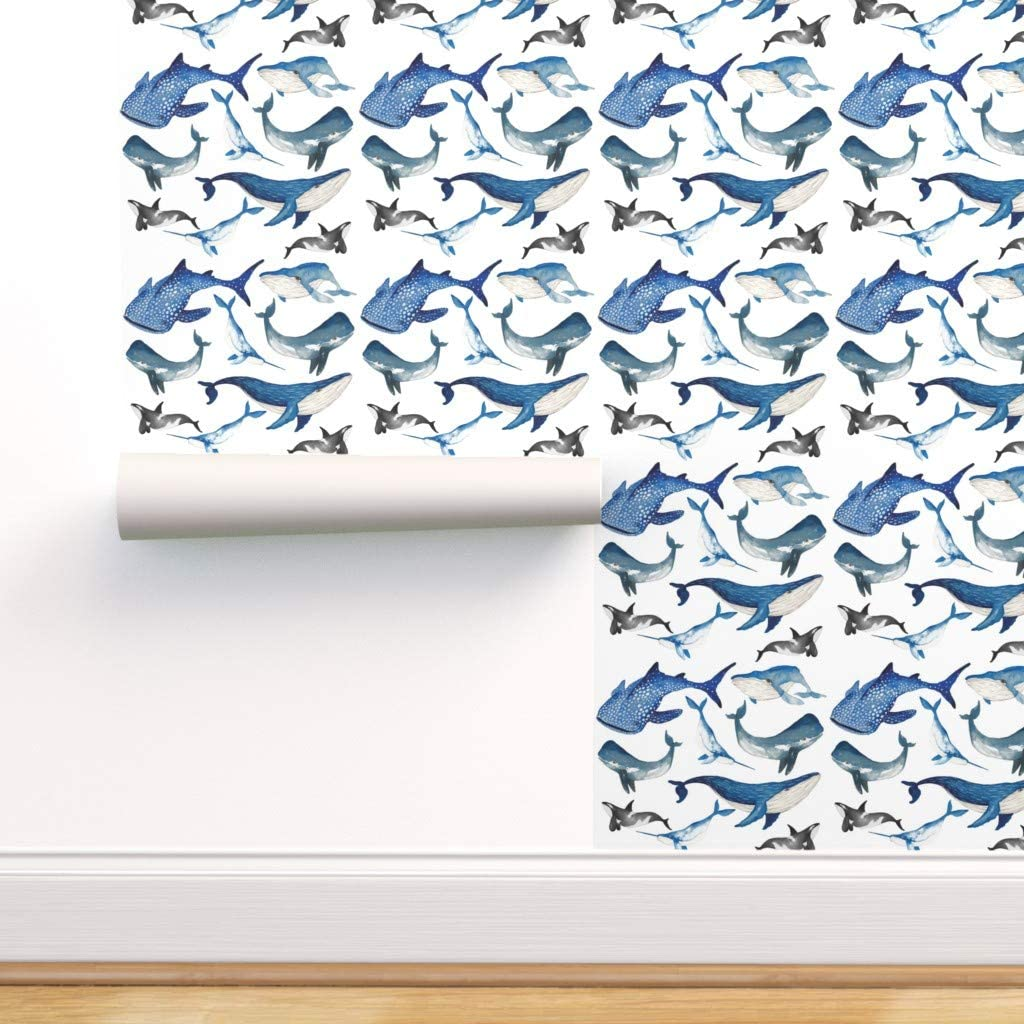 Spoonflower Peel and Stick Removable Wallpaper, Aquatic Animals Blue Whale Narwhal Dolphin Sea Shark Sealife Marin Print, Self-Adhesive Wallpaper 24in x 108in Roll