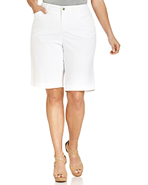 Jones New York Jeans Woman Trouser Short Mid-rise Plus Size 14 W White