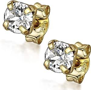 Amberta Women's 925 Sterling Silver Lumini Crystal Stud Earrings