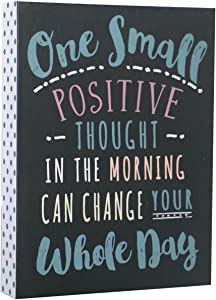 SANY DAYO HOME Desktop 6 x 8 inches Wood Box Signs with Inspirational Saying for Desk and Wall Decor - One Small Positive Thought in The Morning Can Change Your Whole Day