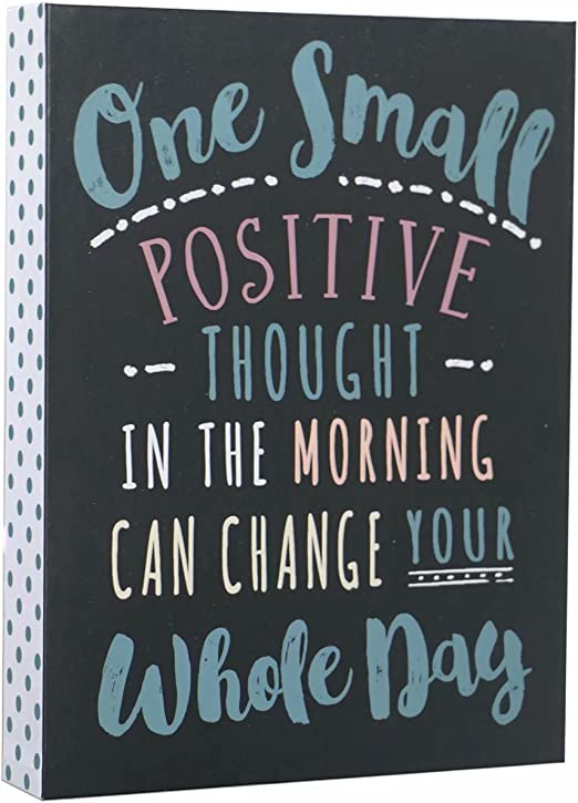 SANY DAYO HOME Desktop 6 x 8 inches Wood Box Signs with Inspirational Saying for Desk and Wall Decor - One Small Positive Thought in The Morning Can ...