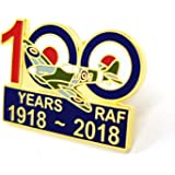 Commemorating 100 Years Of The Royal Air Force RAF 1918-2018 / RAF Royal Air Force 100 Years Spitfire 1918 to 2018 Centenary Pin Badge / Gift Metal Enamel Pin Badge Brooch | High Quality Metal Enamel Pin Badge Lapel Brooch Novelty Collectable Gift Jewellery for Clothes Shirt Jackets Coats Tie Hats Caps Bags Backpacks