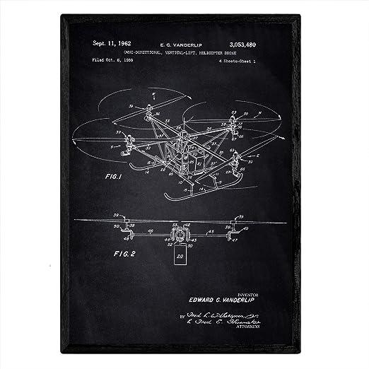 Nacnic Poster con Patente de Dron helicoptero. Lámina con diseño ...