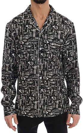 Dolce & Gabbana - Camisa Informal de Seda Negra con Estampado ...