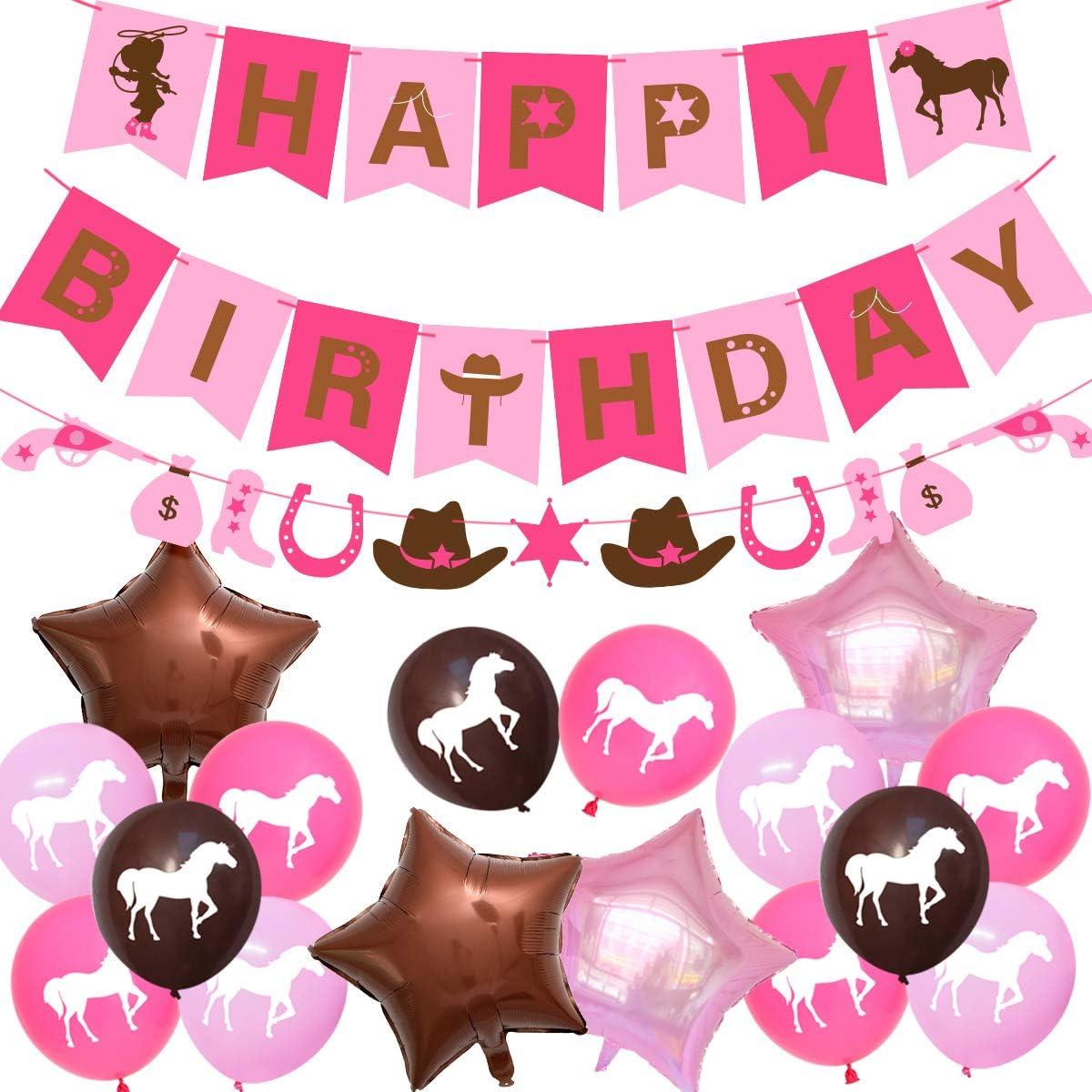 Decoraciones de fiesta de vaquera occidental Suministros de fiesta de cumpleaños de caballo para niñas con guirnalda de vaquera Banner de feliz cumpleaños Globos de látex rosa