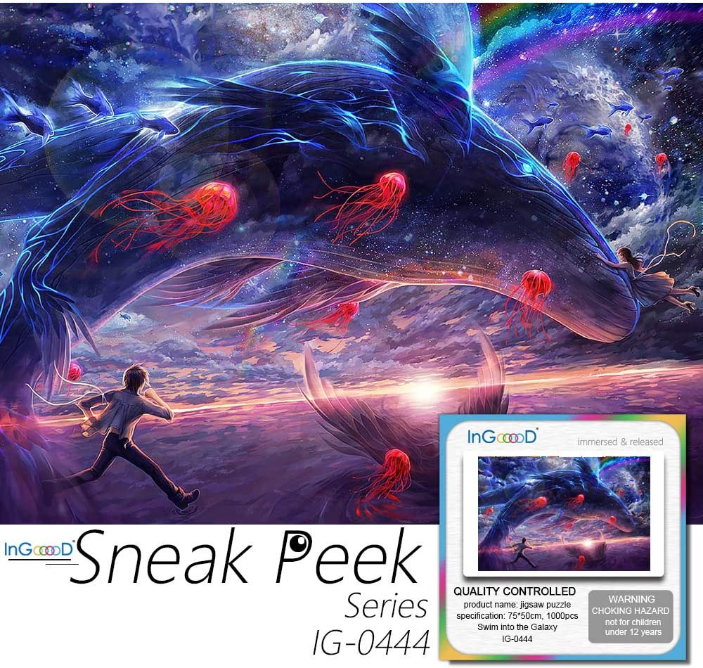 Ingooood- Jigsaw Puzzle 1000 Pieces- Sneak Peek Series- Swim into The Galaxy_ IG-0444 Entertainment Toys for Adult Special Graduation or Birthday Gift Home Decor
