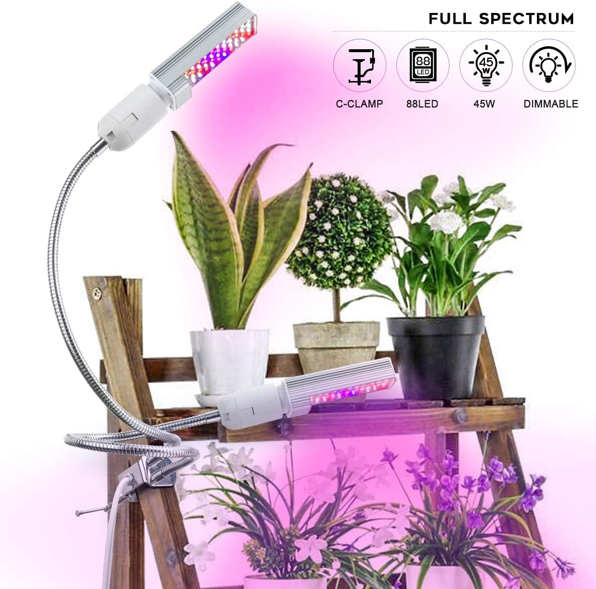 Grow Light for Indoor Plants, Kolem 45W Full Spectrum LED Grow Light with Replaceable Indoor Plant Light Bulbs, Double Switch 4 Dimmable Levels Grow Lights for Seedling, Flower, Veg