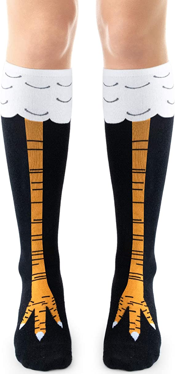Zoopwon Crazy Funny Chicken Legs//US Flag Boots Knee//Thigh High Novelty Socks Funny Gag Gifts