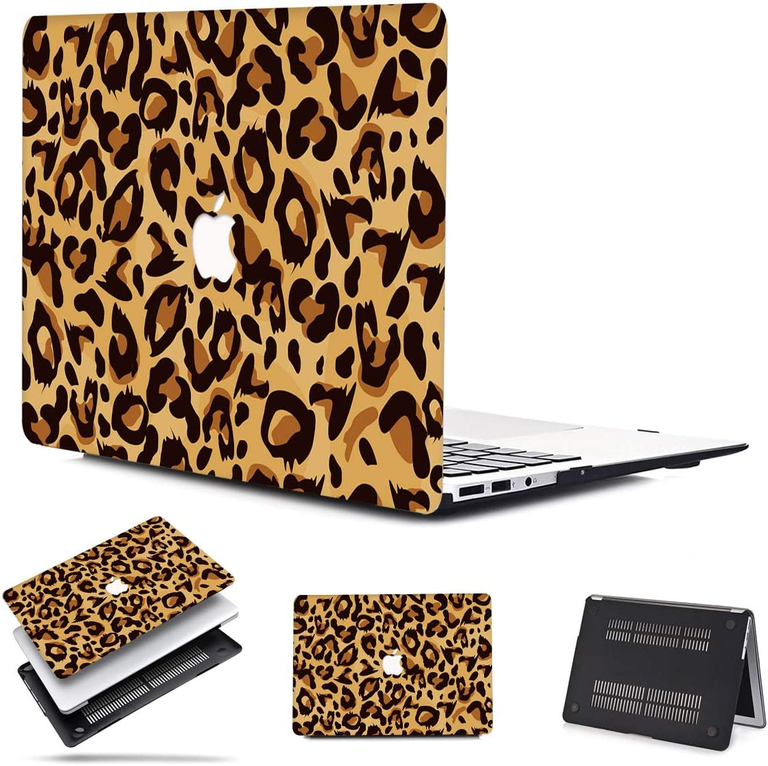 PapyHall New MacBook Air 13 Touch ID 2018 2019 2020 Release A1932 A2179 Plastic Shell Cover for MacBook Air 13 inch Retina with Touch ID Model: A2179 A1932 Leopard Brown