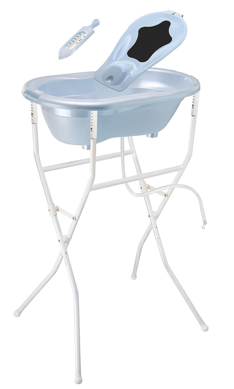 Rotho Babydesign 21037010301 ideale Badeloesung TOP Set2 mit Wannenstaender hoehenverstellbar babybleu perl