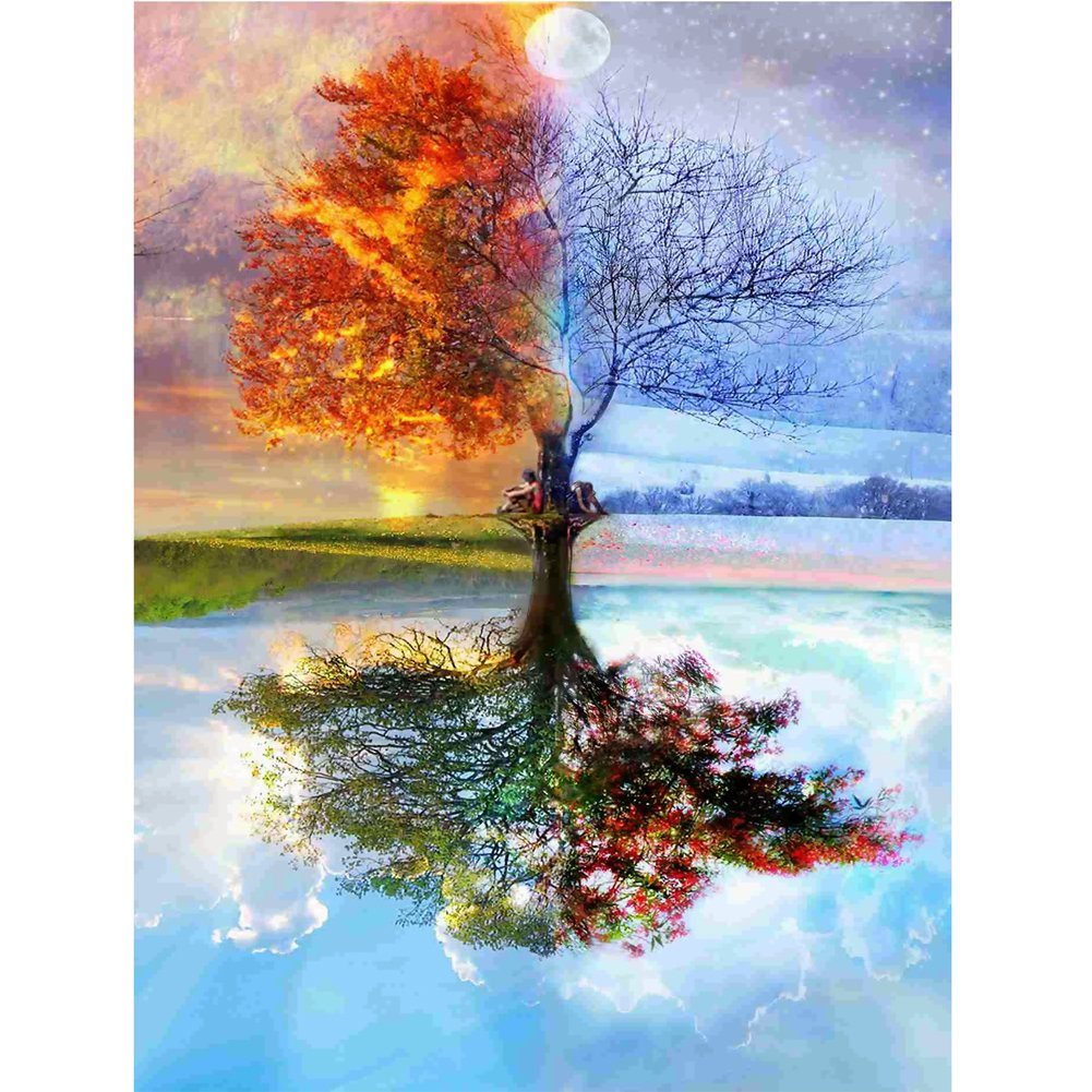 Childplaymate 5D DIY Diamond Painting Cross Stitch Kits Embroidery for Wall Decor(Wishing Tree)