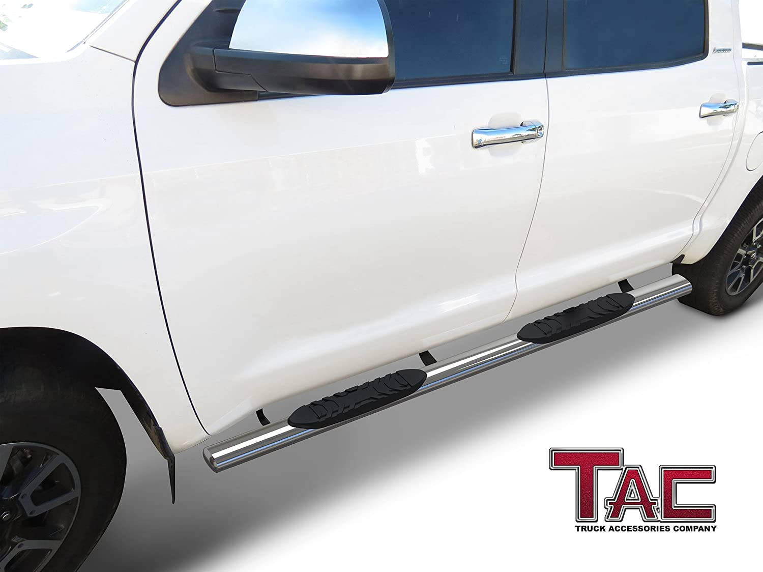 2 Pieces Running Boards TAC Side Steps Fit 2007-2019 Toyota Tundra Crew Max Cab 5 Oval Tube Stainless Steel Side Bars Nerf Bars Running Boards Rock Panel Off Road Exterior Accessories