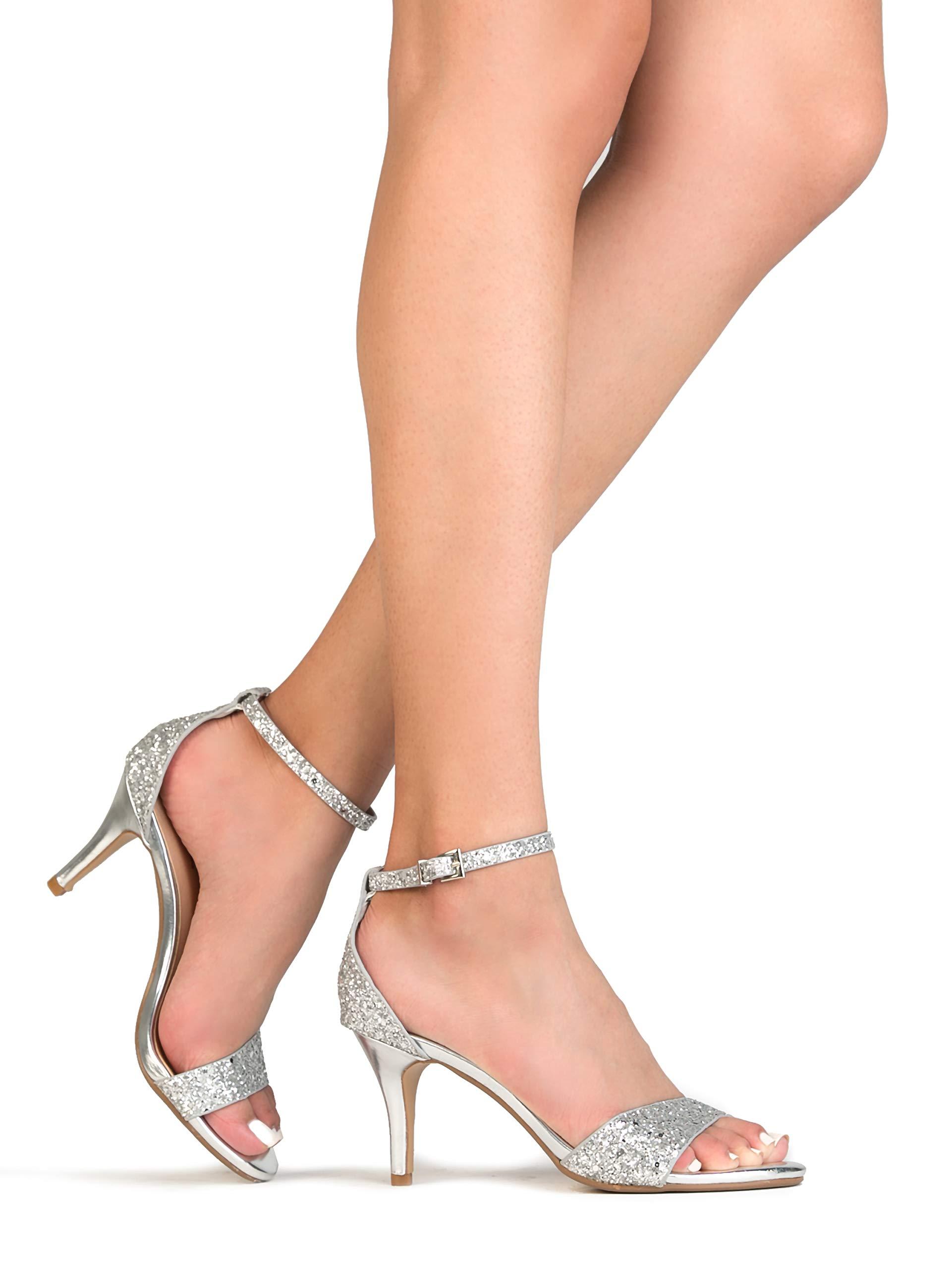 J. Adams Low Ankle Strap Heel, Silver Glitter, 7.5 B(M) US