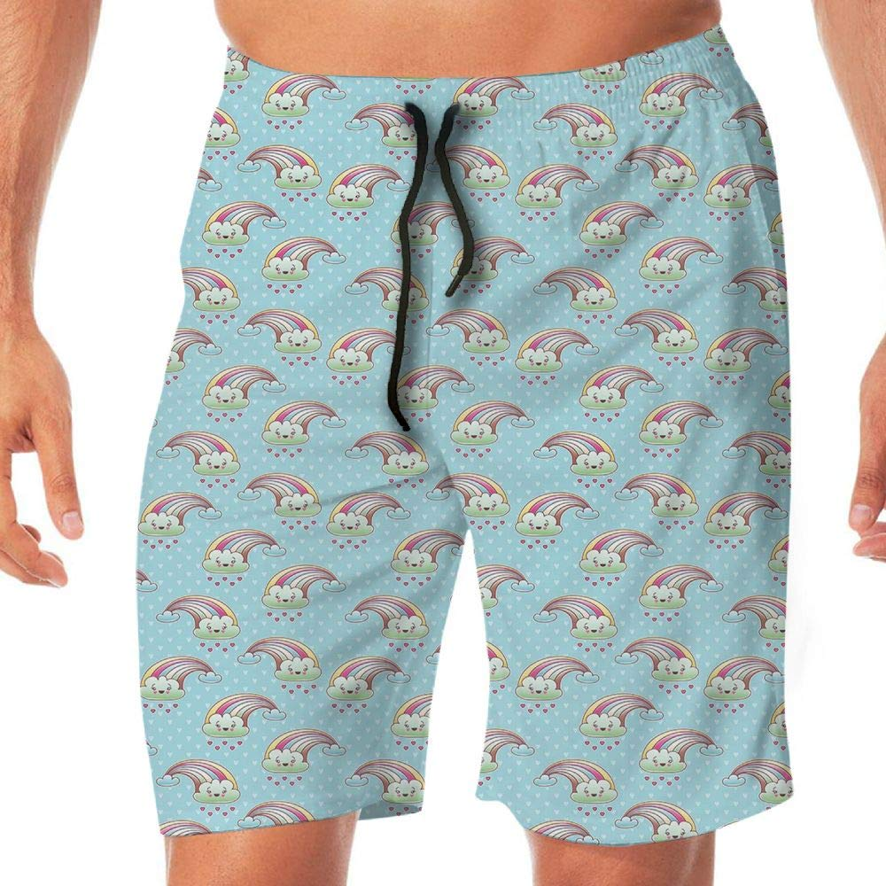 Haixia Men Printing Swimming Trunks Abstract Kawaii Clouds with Rainbow Arches