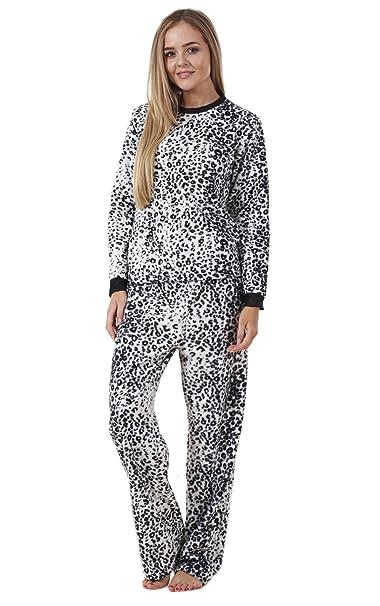 Conjunto de pijama para mujer - Manga larga - Forro polar - Estampado animal - EU