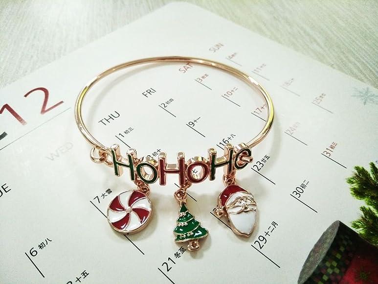 RUXIANG HOHOHO Christmas Tree Santa Claus Windmill Cuff Hook Bracelet Bangle Jewelry