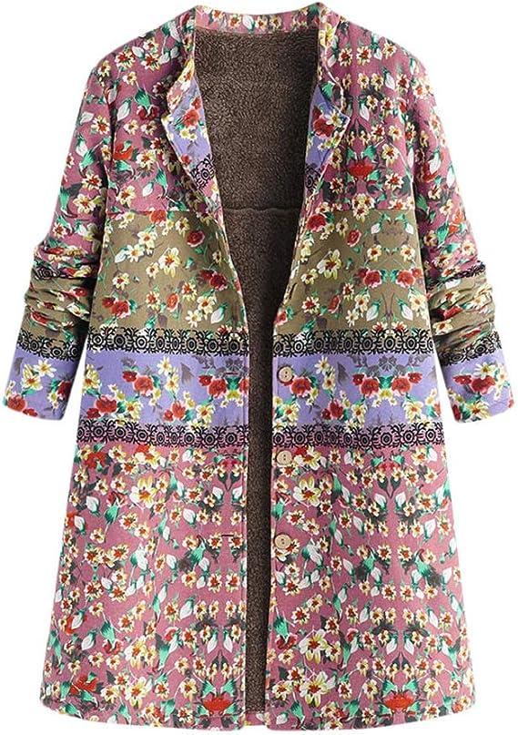 FNKDOR Manteau Femme Automne Hiver Grande Taille Vintage Veste à Fleurs Imprimées épais Mode Parka Blouson Pas Cher