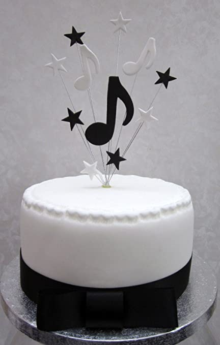 Musical Notes Cake Topper Suitable For A Small Or Cupcake Black And White