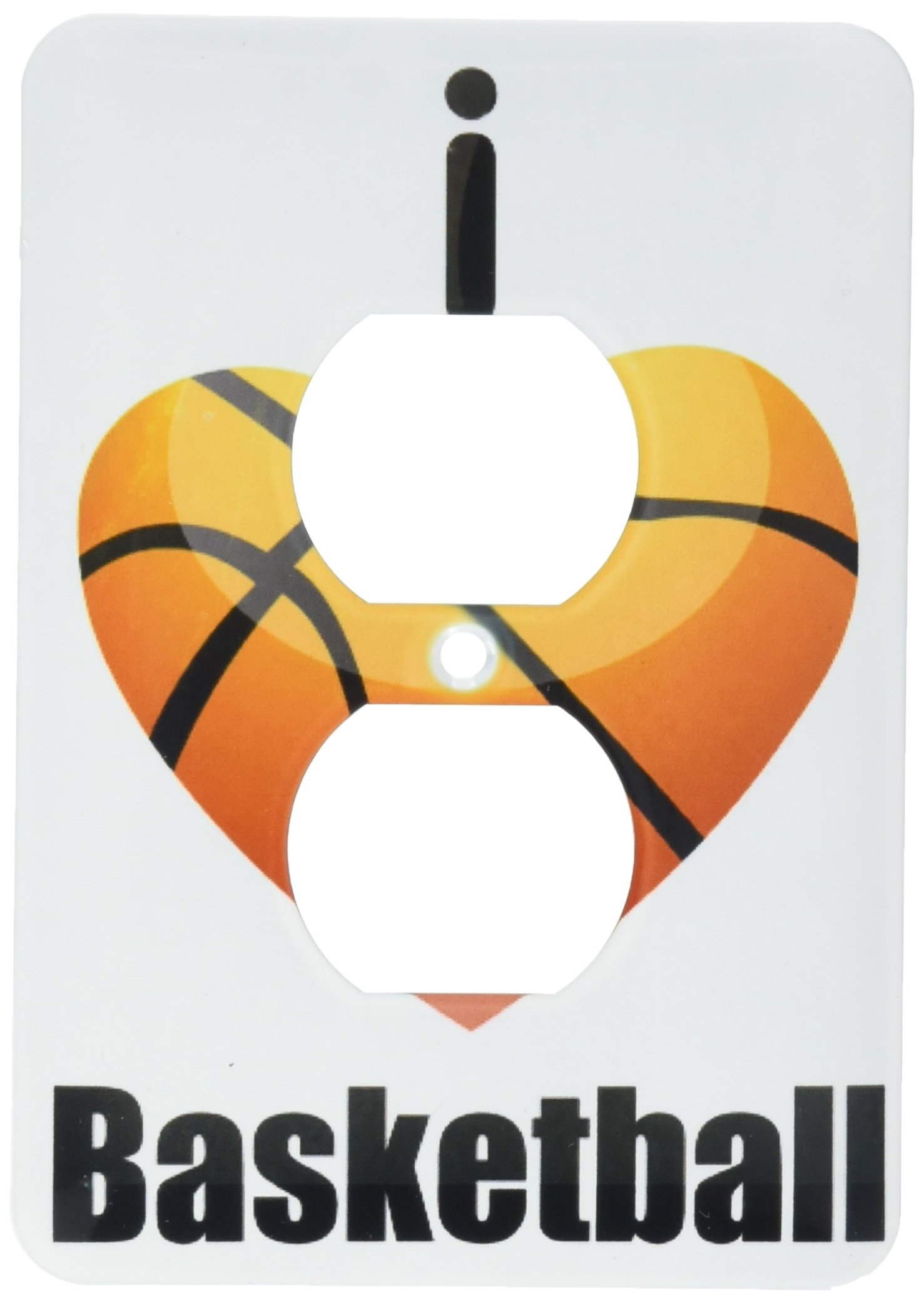 3dRose lsp_101261_6 I Love Basketball 2 Plug Outlet Cover
