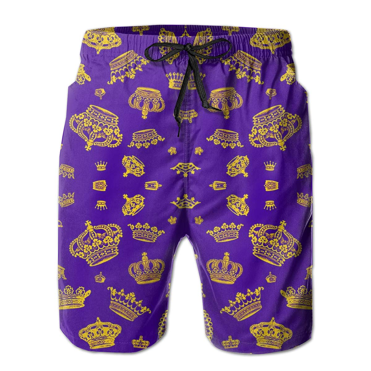 Men's Shorts Swim Trunks - Royal Crown Purple Quick Dry Board Shorts with Elastic Waist Drawstring for Summer Beach Surfing Running Volleyball Games