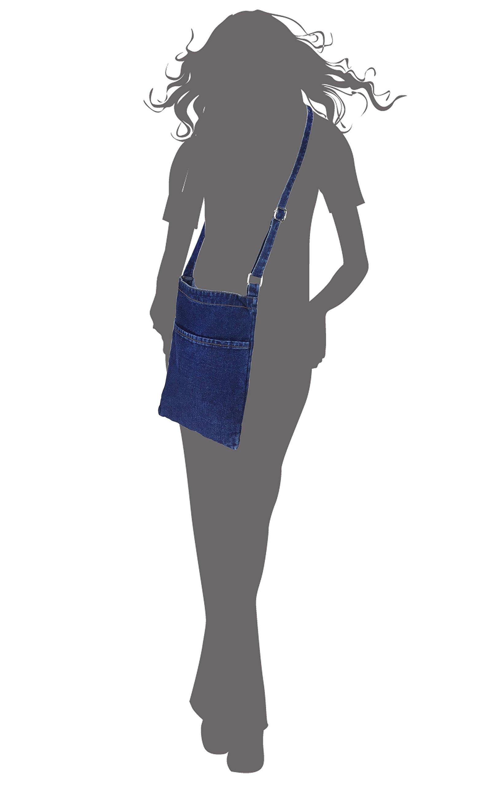6642e274b8f6 Hoxis Portable Travel Two Pocket Soft Denim Cross Body Womens Shoulder Bag  Pouch